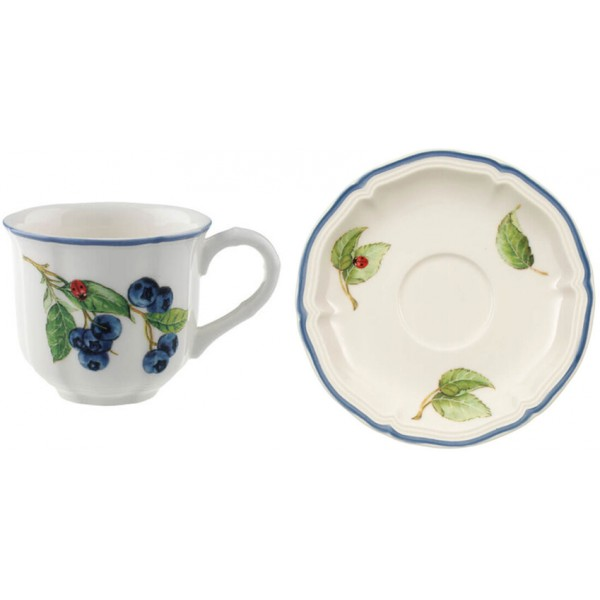 Set 12 tazze caffè con piattino Cottage
