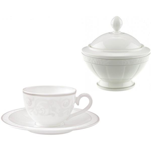 Set 6 tazze tè con piattino e zuccheriera Grey Pearl