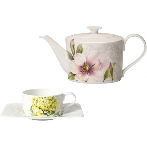 Set 6 tazze tè con piattino e teiera Quinsai Garden