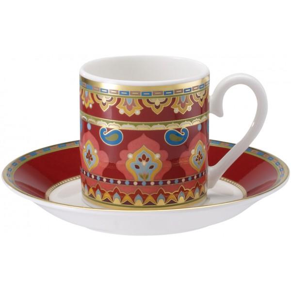 Set 6 tazze caffè con piattino rosse Samarkand
