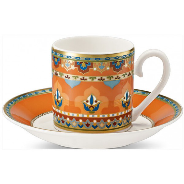 Set 6 tazze caffè con piattino arancio Samarkand