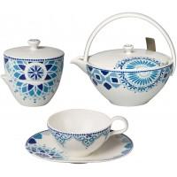 Set 6 tazze tè con piattino, teiera e zuccheriera Medina