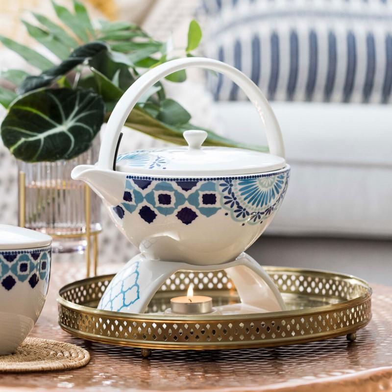 Set 6 tazze tè con piattino, teiera e zuccheriera