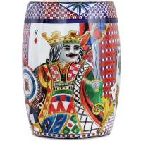 Sgabello in porcellana regina di cuori