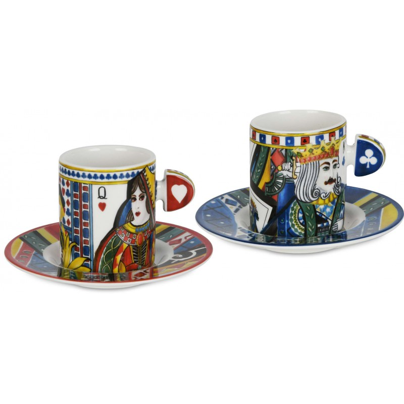 Set 2 tazze caffè con piattino regina di cuori