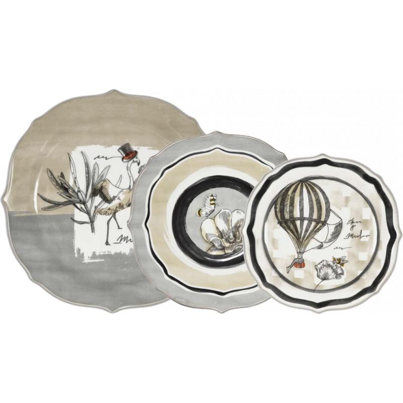Set 18 piatti in porcellana Urban