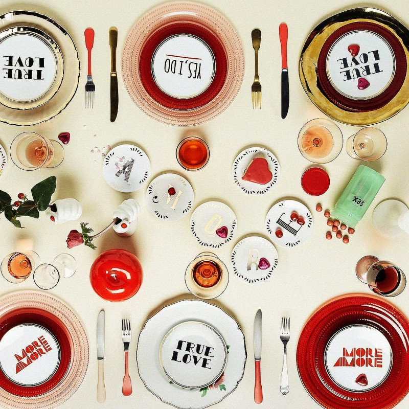 Set 8 piatti 17cm tavola scomposta