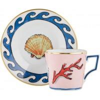 Set 6 tazze caffè con piattino il viaggio di Nettuno