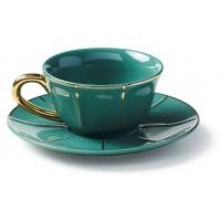 Set 6 tazze tè rosa con piattino
