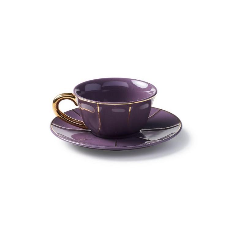 Set 6 tazze tè viola con piattino