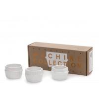 set 3 coppette in porcellana machine collection