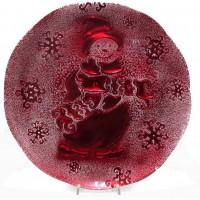 snowman piatto cm 36 decoro rosso scatola regalo