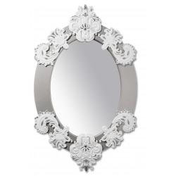specchio ovale  bianco  argento