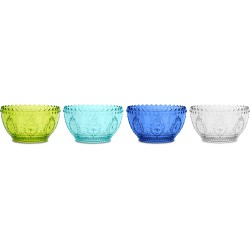 set 4 coppetta frutta blue turchese lime trasparen