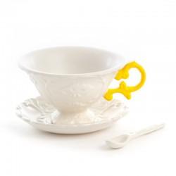 set da tè in porcellana i wares con manici gialli