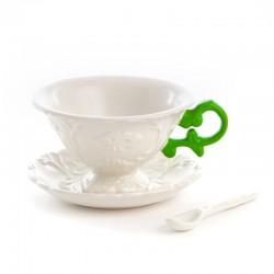 set da tè in porcellana i tea con manici colorati