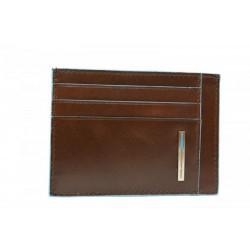 porta carte di credito in pelle marrone