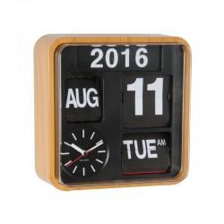 Orologio Mini Flip cassa legno, quadrante nero