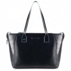 borsa piquadro donna shopper in pelle blue square