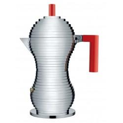 caffettiera pulcina 6 tazze manico rosso
