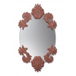 specchio ovale senza cornice  rosso