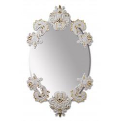 specchio ovale senza cornice bianco oro
