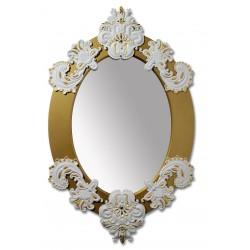 specchio ovale  bianco  oro